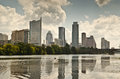 Downtown austin texas skyline the of the capital city of Stock Image