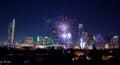 Downtown Austin, Tx Fireworks Royalty Free Stock Photo