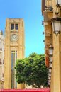Downtown beirut lebanon a view of the clock tower in nejme square in and some local architecture a landmark of the beautiful and Royalty Free Stock Photography