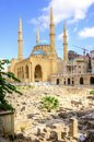 Downtown beirut lebanon a view of the saint george maronite cathedral and the mohammad al amin mosque at the historic centre of in Royalty Free Stock Photography