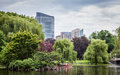 Downtown boston from the boston commons is a very nice spot in heart of a green oasis in vibrant hectic citylife Royalty Free Stock Photo