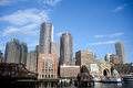 Downtown boston skyline scenic view of with blue sky and cloudscape background u s a Stock Photography