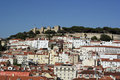 Downtown and castle of saint george lisbon portugal at Royalty Free Stock Photo