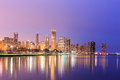 Downtown Chicago across Lake Michigan at sunset, IL Royalty Free Stock Photo
