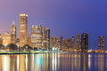 Downtown Chicago across Lake Michigan at sunset,USA Royalty Free Stock Photo