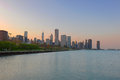 Downtown Chicago at Dusk Royalty Free Stock Image