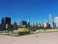 Downtown chicago from grant park illinois skyline an open field in with buckingham fountain Stock Photography