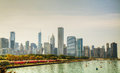 Downtown chicago il on a cloudy day as seen from lake michigan Royalty Free Stock Images
