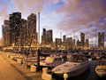 Downtown Chicago seen from marina Royalty Free Stock Photography