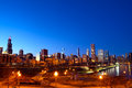 Downtown chicago at sunset il usa Stock Image