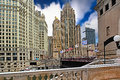 Downtown Chicago with Tribune Tower at blue sky Royalty Free Stock Photo