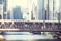 Downtown chicago wells street in the afternoon view of the el in and river Royalty Free Stock Photo