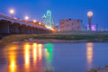 Downtown Dallas, Texas skyline at night reflecting in Trinity Ri Royalty Free Stock Photo