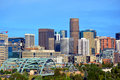 Downtown Denver, Colorado Skyscrapers with Confluence Park and the Speer Blvd. Platte River Bridges in the Foreground Royalty Free Stock Photo
