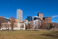 Downtown denver in daytime a sunny winter day colorado from civic center park Royalty Free Stock Image