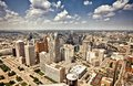 Downtown detroit aerial view of abandoned of michigan Stock Images