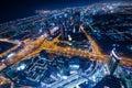 Downtown dubai futuristic city neon lights and sheik zayed road Royalty Free Stock Photo