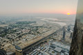 Downtown of dubai uae in the sunrise united arab emirates view from burj khalifa Stock Photo