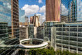 Downtown houston highrise buildings with a blue sky Royalty Free Stock Image