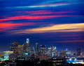 Downtown la night los angeles sunset skyline california colorful Royalty Free Stock Photo