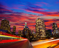 Downtown la night los angeles sunset skyline california from freeway Royalty Free Stock Photos
