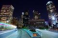 Downtown LA night Los Angeles sunset skyline California Royalty Free Stock Photo