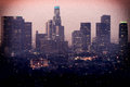 Downtown los angeles as seen from the griffith observatory at dusk california usa Stock Photography