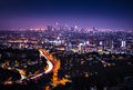 Downtown los angeles horizontal view of from the hollywood hills interstate is shown in the foreground Royalty Free Stock Photography