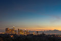 Downtown Los Angeles skyline sunset night evening Royalty Free Stock Photo