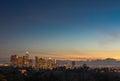 Downtown Los Angeles skyline sunset night evening Royalty Free Stock Photo