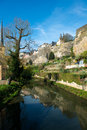 Downtown of luxembourg city view with alzette river Stock Photo