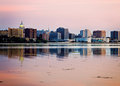 Downtown Madison seen acrross Lake Monona Royalty Free Stock Photo