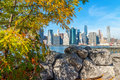 Downtown Manhattan as seen from Brooklyn Bridge Park, NYC Royalty Free Stock Photo