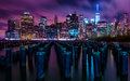 Downtown Manhattan New York City night skyline Royalty Free Stock Photo