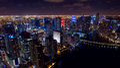 Downtown Miami Aerial Night Skyline Royalty Free Stock Photo