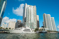 Downtown miami along biscayne bay with condos and office buildings Royalty Free Stock Photos