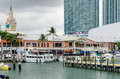 Downtown miami decks restaurant and boats florida us may Royalty Free Stock Photography