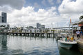 Downtown miami decks restaurant and boats florida us may Royalty Free Stock Photos
