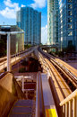 Downtown miami railroad station viewed from a bridge in florida usa Royalty Free Stock Photography