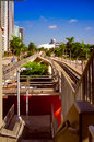 Downtown miami railroad station viewed from a bridge in florida usa Stock Photos