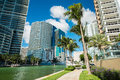 Downtown miami view along biscayne bay from brickell key Royalty Free Stock Photo