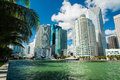 Downtown miami view along biscayne bay from brickell key Stock Photos
