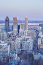 Downtown of montreal at dusk Royalty Free Stock Image