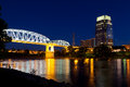 Downtown nashville tennessee bridge and city skyline at dusk Stock Photo