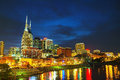 Downtown nashville tn in the evening Royalty Free Stock Photo