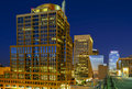 Downtown phoenix arizona at night long exposure photo of the a city street in Royalty Free Stock Images
