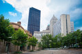 Downtown pittsburgh in the summer with blue sky Stock Image