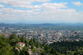 Downtown portland oregon as seen from the pittock mansion overlook Stock Photos