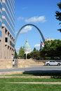 Downtown saint louis with view of the arch and the old courthouse Royalty Free Stock Image