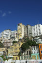 Downtown salvador brazil skyline of crumbling infrastructure features a colorful old buildings Stock Image